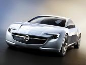 Opel Flextreme GT/E har getts en djärv formgivning. Den lågt sluttande motorhuven tillsammans med grillens utformning för tankarna till exklusiva Mercedes-Benz sportmodeller.