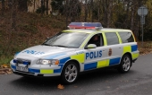 Volvo V70 i polisutförande. Foto: Kristoffer Thessman.