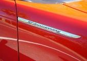 Specialtillverkat kromat emblem på framskärmarna.