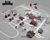 Planritning över Gilmore Car Museum.