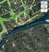 Karta som visar placeringen av tunneln mellan Detroit och Windsor.