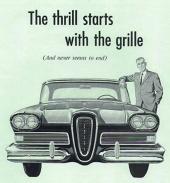 En mycket tidig reklam, få man satsade allt på att bilen skulle säljas på grund av sin grill.