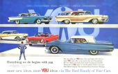 Här visas hela märkesprogrammet. Notera att även Lincoln var nyskapad till 1958, precis Thunderbird och Edsel. Den bilen som drar störst uppmärksamhet är Thunderbird!