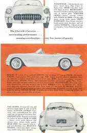 """Originalbroschyren av Chevrolet Corvette där man fortfarande visar bilen med """"tummen"""" ned och anger effekten till 160 hk."""